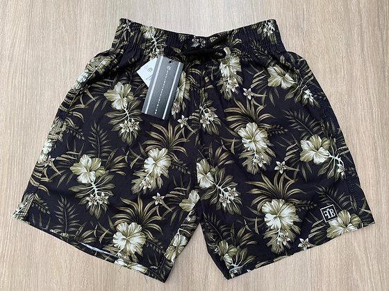 Shorts Floral Preto & Marrom