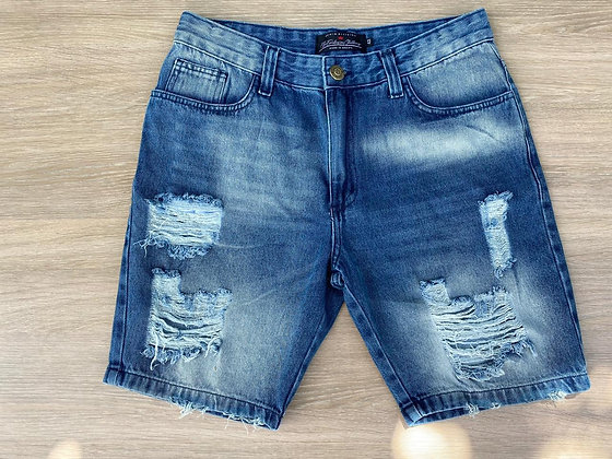 Bermuda Jeans Destroyed Azul Escura