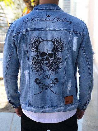 Jaqueta Jeans Destroyed Skull