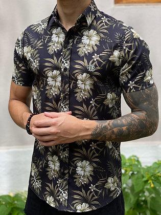 Camisa Floral Preto & Marrom