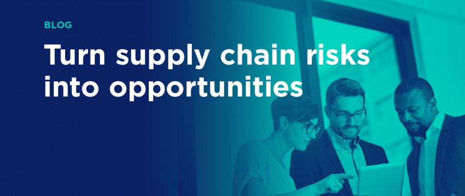 """Team Collaboration Image with words """"Blog: Turn supply chain risks into opportunities"""""""