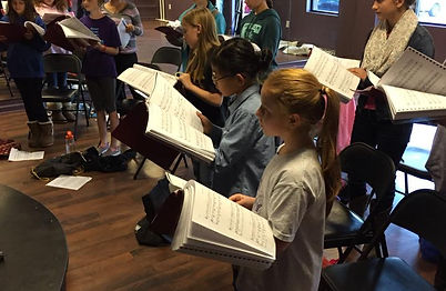 Students learning music