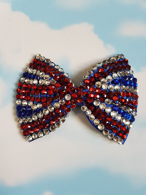 Union Jack Bling Bow Clip