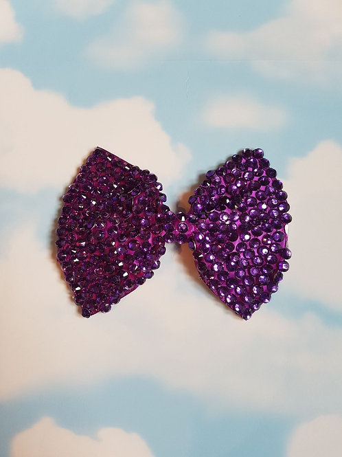 Purple Bling Bow Clip