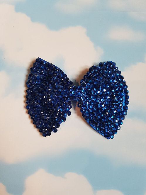 Navy Blue Bling Bow Clip