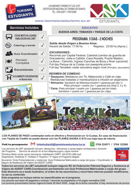EDUTRIP  BUENOS AIRES -TEMAIKEN y PARQUE DE LA COSTA