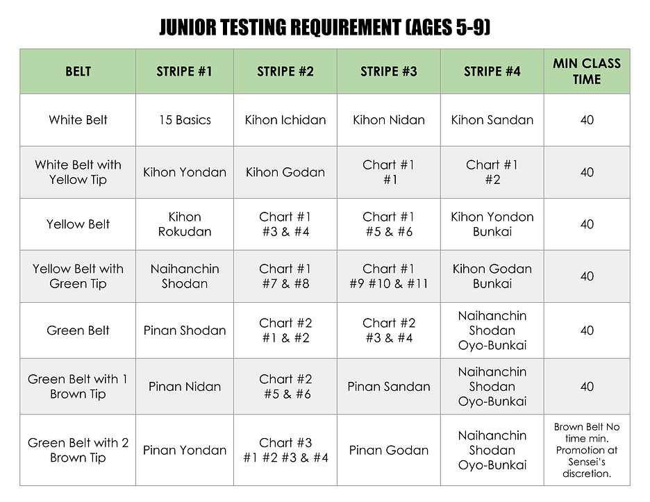 Junior Testing Requirement