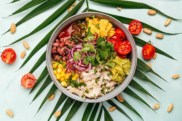 hawaiian-chicken-poke-bowl-with-rice-and