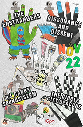 Thanksgrieving Day Show! Concert Poster. Featuring: Dissonance & Dissent (West Lafayette, IN Political Ska - Punk), The Enstranges (Lafayette, IN, Punk & Roll), The Circle City Deacons (Indianapolis, IN, Rocksteady, Soul, Ska), and DJ Cabby Soundsystem (Ska, Hip-hop, Reggae). At The Spot Tavern, Lafayette, Indiana. November 22nd, 2017. 11/22/17.