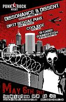 Concert Poster for 5/6/17, Punk Rock Night Presents: Dissonance & Dissent (Skacore, Punk, Ska), Dirty Reggae Punx (Pun, Reggae), Coolidge (Rock, Ska, Pop-punk), DJ Cabby Soundsystem (Hip-Hop, Raggae, Ska)