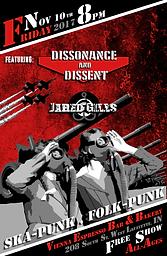 Concert poster, Veterans Day Ska Punk Folk Punk Concert, Dissonance & Dissent, Jared Gills, 11/10/17, West Lafayette, Indiana, Vienna Espresso Bar & Bakery, Free, All Ages Show, apocalyptic, gas mask, street art style, DIY art
