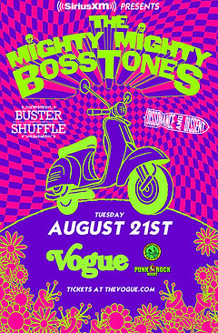 Concert Poster. SiriusXM Presents: The Mighty Mighty Bosstones, with Buster Shuffle and Dissonance & Dissent, at The Vogue Theatre. Tuesday, Augus 21st, 2018. Indianapolis, Indiana. Ska, ska-punk, skacore. Pink and purple checkers with neon moped. Promotional support by: Punk Rock Night Indianapolis and Dahila Presents.
