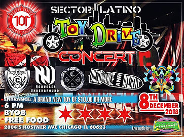 12_8_18 Toy Drive Concert Poster.jpg Chicago Ska Punk Concert Poster Featuring: Nahuales Underground, Malafacha Ska, Dissonance & Dissent, South Central Skankers, Sector Musical. December 8th, 2018.