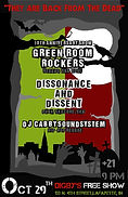 """""""They Are Back From The Dead"""" Ska/Punk concert poster, Green Room Rockers, Dissonance & Dissent, and DJ Cabby Soundsystem, 10/29/16, at Digby's Pub & Patio, Lafayette, IN"""