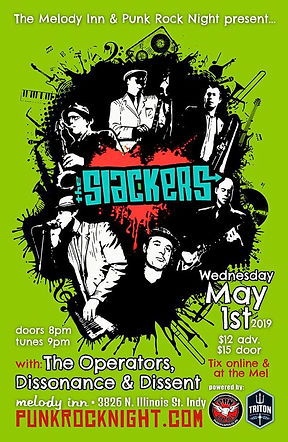 Concert Poster for The Slackers. The Melody Inn and Punk Rock Night Indianapoli present The Slackes, with The Operators and Dissonance & Dissen. Wednesday May 1st, 2019. Indianapolis, Indiana.