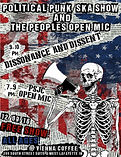 Political Punk/Ska Show and The People's Open Mic concert poster, Dissonance & Dissent, PSJC's The People's Open Mic, 12/9/16, at Vienna Espresso Bar & Bakery