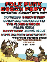 Concert Poster for 8/12/17, Folk Punk Beach Party . Dissonance & Dissent (special acoustic set), No Horse, Ashby and The Oceanns, The Florida Rooms, False Idols, Happy Larf, Jared Gills. Chicago, IL. Montrose Dog Beach.