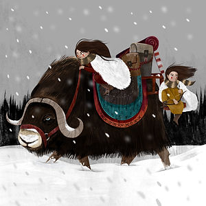 Musk ox journey snow sisters forest