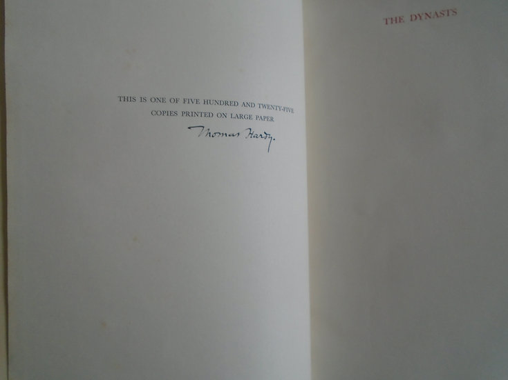 THOMAS HARDY THE DYNASTS  SIGNED LTD EDITION
