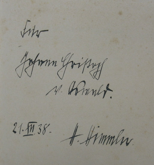 Presentation inscription from Himmler