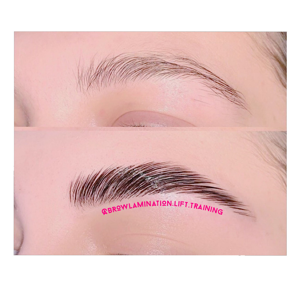 Brow lamination transforms thin brows into thick brows
