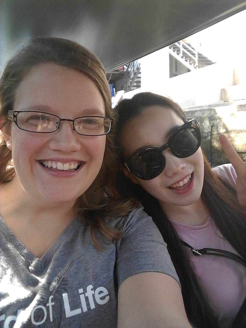 Audrey (Dean of Women) with Ally (Korean student)