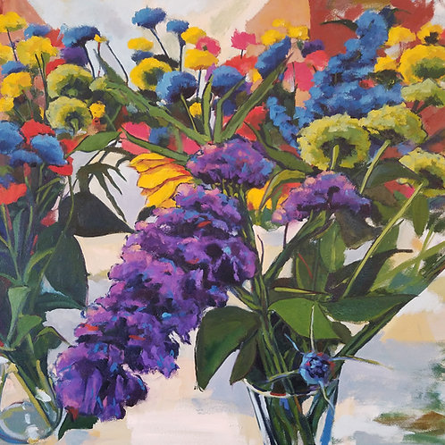 Oil painting, purple flower, still life, contemporary, summer lilac