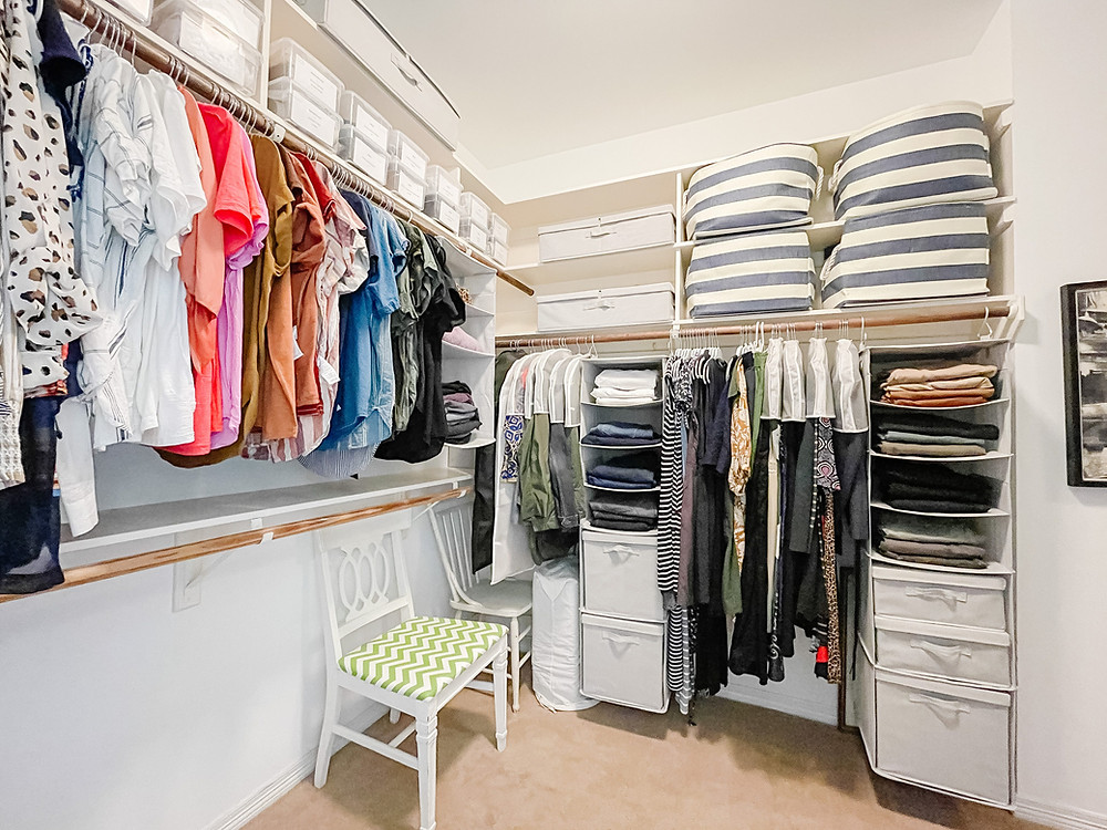 """After Organization Project """"Clean my own closet"""" by Houston interior design firm Nancy Lane Interiors."""