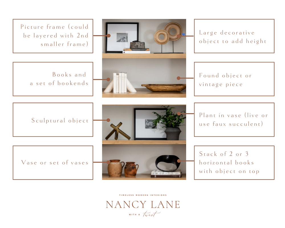 Shelf Styling Tips by Nancy Lane Interiors