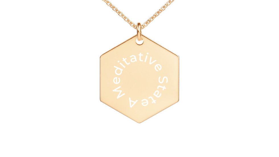 A Meditative State - Engraved Silver Hexagon Necklace