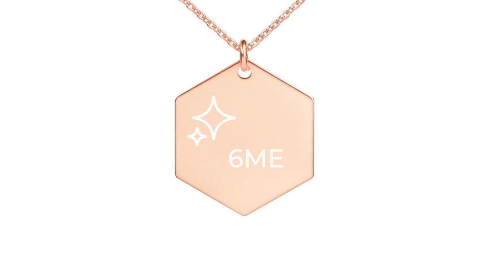 6ME Engraved Silver Hexagon Necklace