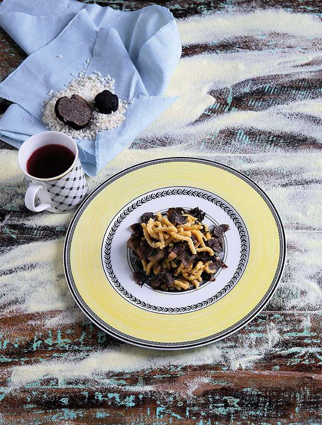 Passatelli with Black Black Truffles and Mushrooms