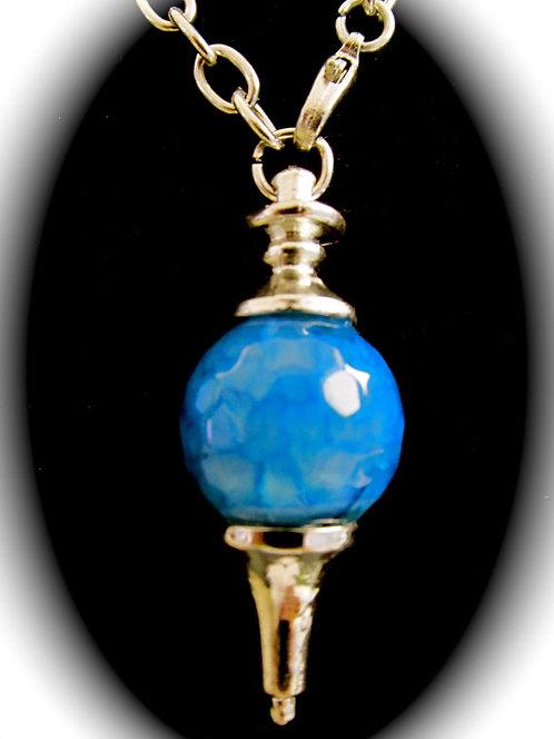 Sapphire Blue Dragon Vein Agate Pendulum