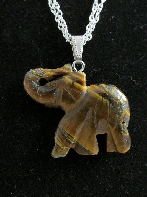 Tiger Eye Elephant Necklace