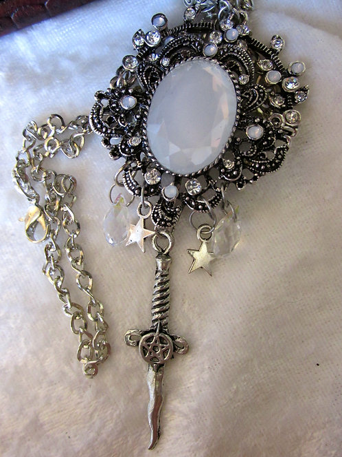 Vintage Eternity Opalite, Athame & Stars necklace