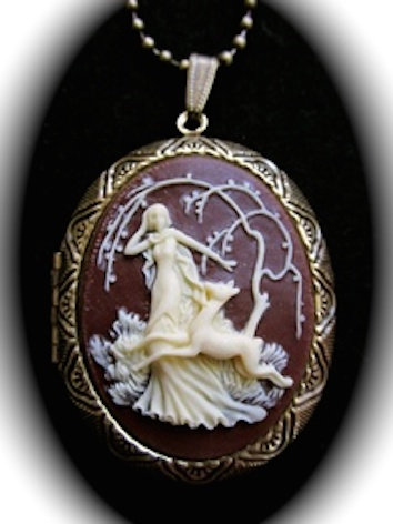 Diana Goddess of the Hunt Cameo Locket Necklace