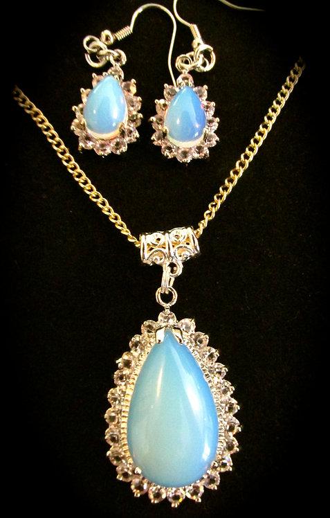Sterling Silver Opalite Teardrop Necklace + gift