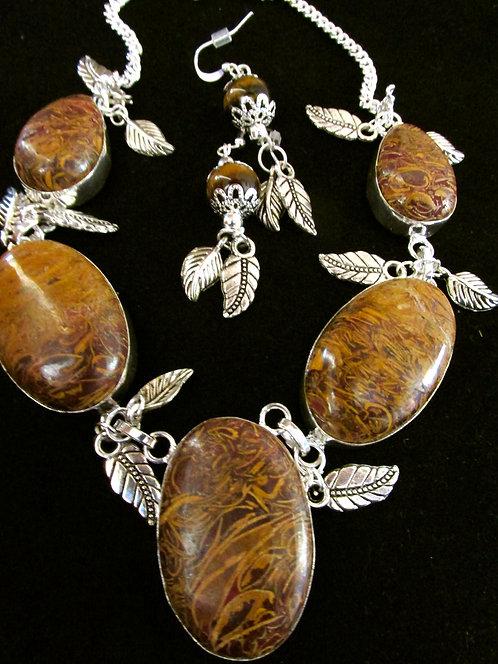 ELEPHANT SKIN Jasper 925 Sterling Silver Necklace