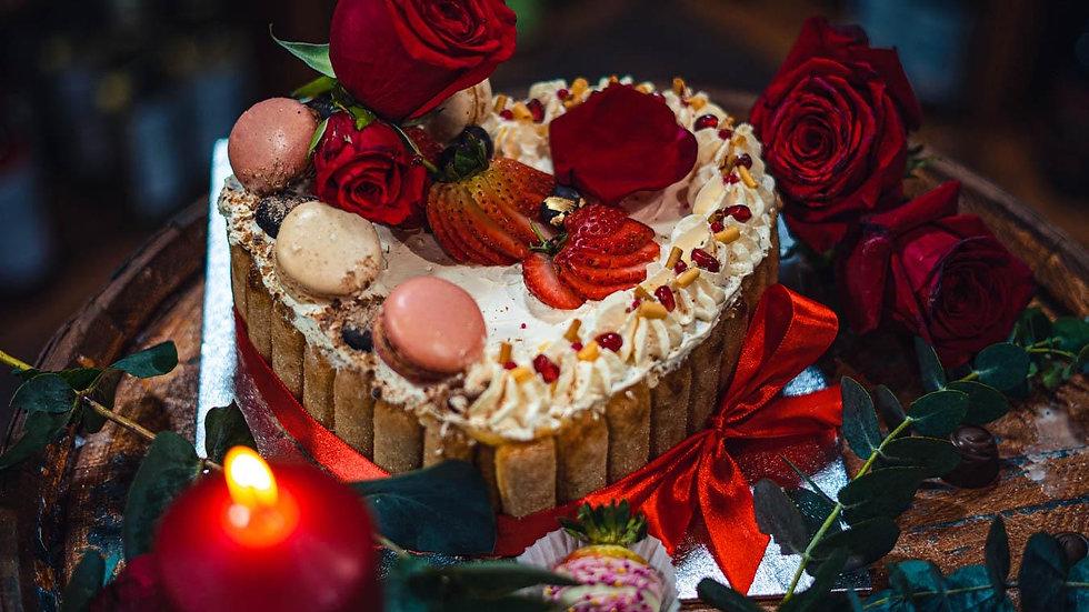 Diplomat Cake and fruits