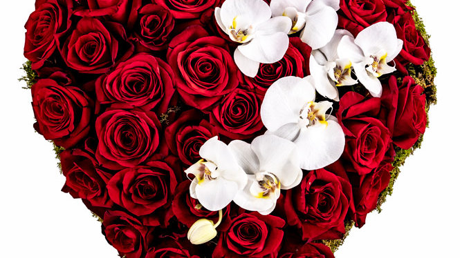 Heart with roses and orchids