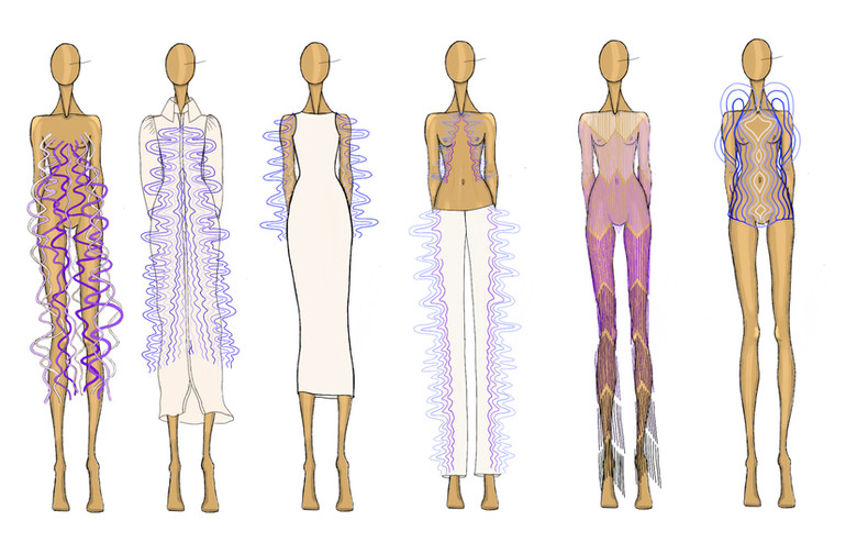 This collection was inspired by a musical artist friend of mine and her song writing porcess.  We discussed synethesia and chromesthesia and how songwriting is very visual, colorful proces for her.  I took soundwaves from her music and designed this colllection as a response.