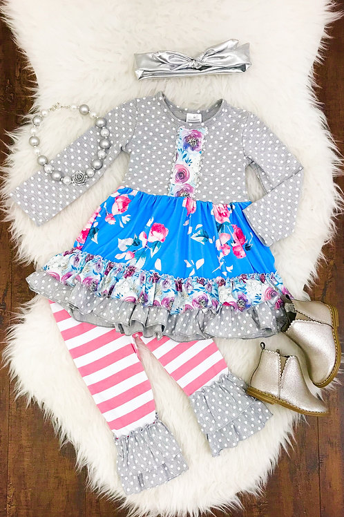 Addison Grey Pink Pant Set