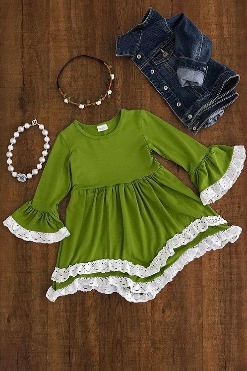 Olive Green,Mustard,Burgundy Lace Dress