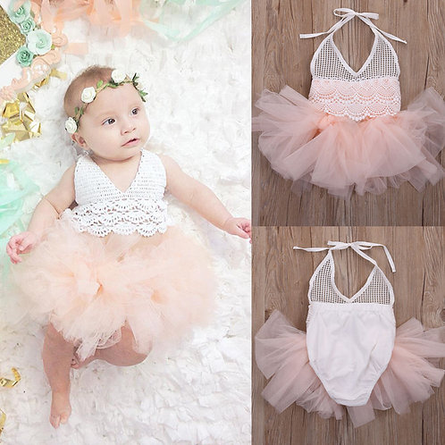 Lace Romper with pink tulle tutu