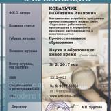 Свидетельство о публикации Ковальчук В.И