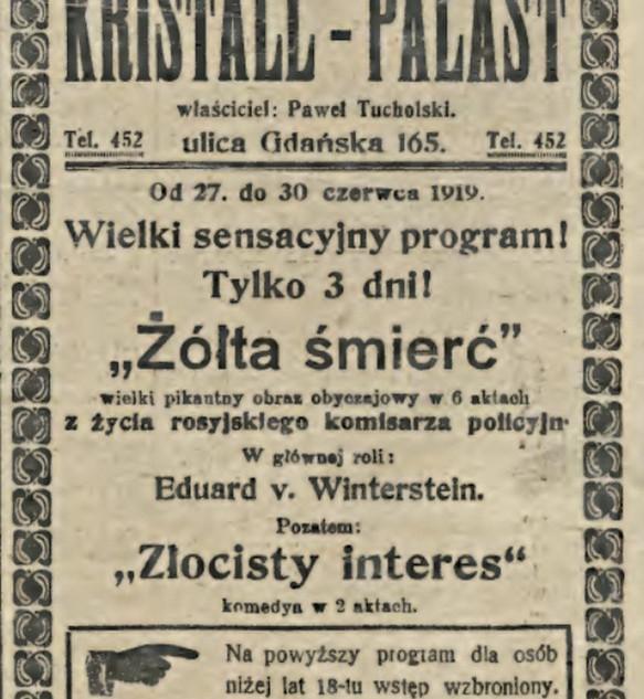 Rok 1919 - reklama z Dziennika Bydgoskiego