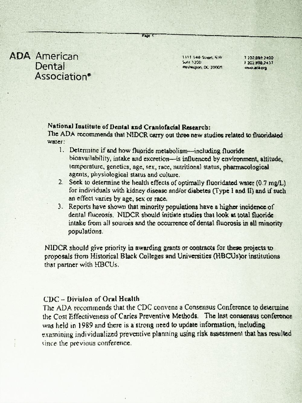 ADA request for further safety evidence on Fluoride