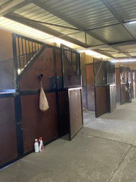 Each stable has space for a grooming bag and a chalk board for food & other reminders.