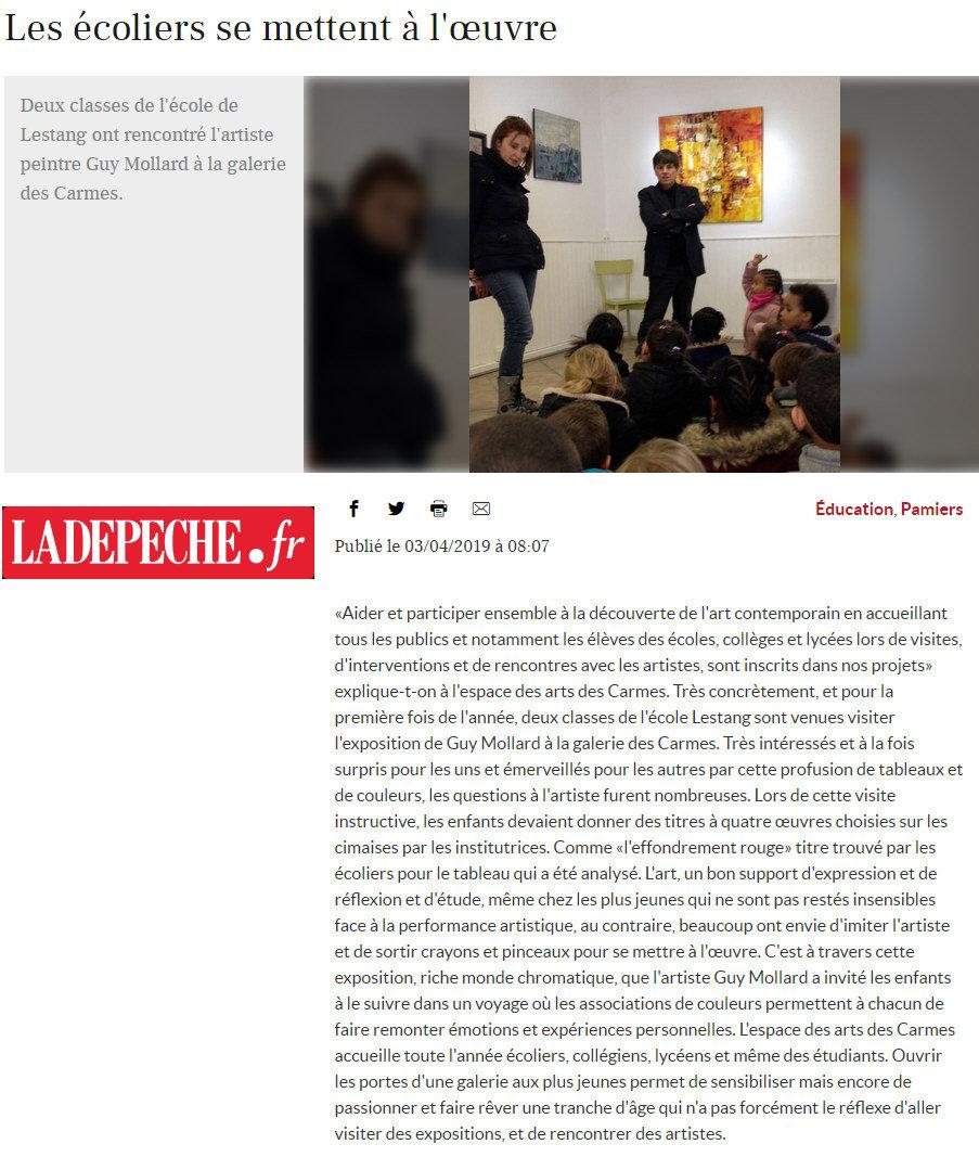 Visite écoliers à l'exposition de Guy MOLLARD