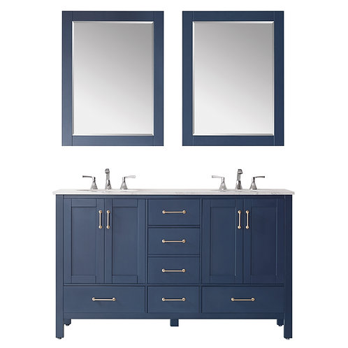 "Bathroom Vanity Set GRD10 - 60"" - Gela Series with Counter Top and Double Sink"